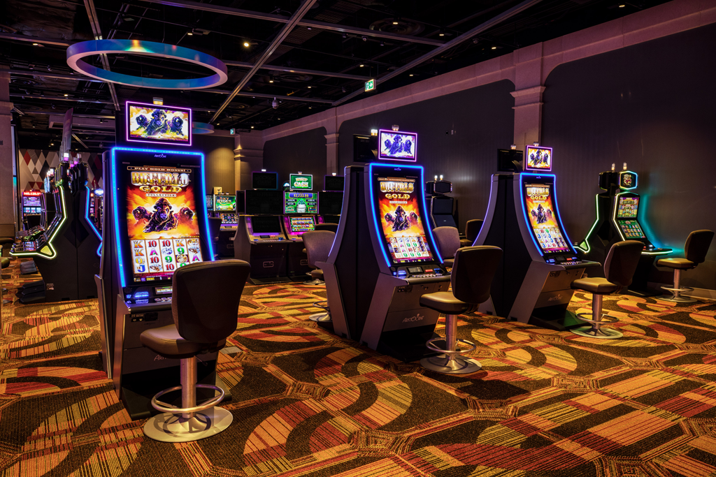 Social distance spacing between individual gaming machines at Club Regent Casino